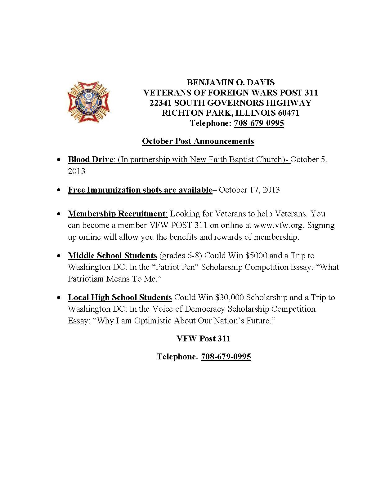 veterans in richton park richton park il official website  2013 events