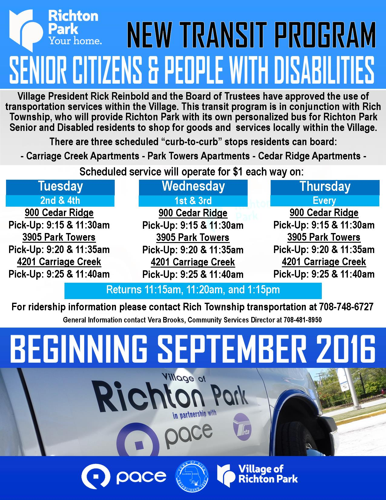 Richton Park - Township - Transit Program Flyer