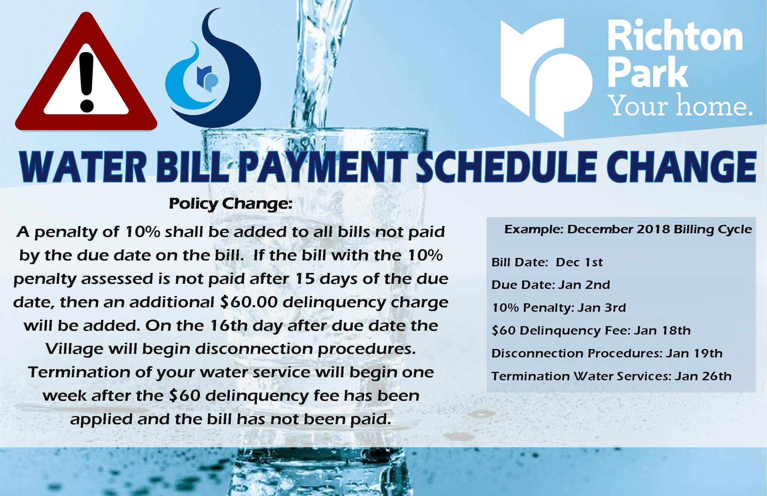 Water Bill Payment Schedule Change